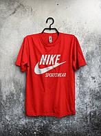 Футболка мужская Nike Sportswear Найк красная (большой принт) (реплика)