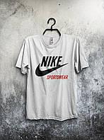 Футболка мужская Nike Sportswear Найк белая (большой принт) (реплика)
