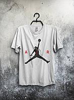Молодежная футболка  белая Jordan Джордан (большой принт) (реплика)