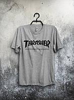 Футболка Thrasher Трэшер серая (большой принт) (реплика)