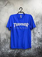 Футболка для парня Thrasher Трэшер синяя (большой принт) (реплика)