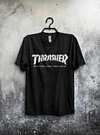 Футболка Thrasher черная Трэшер  (большой принт) (реплика)