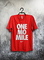 Футболка красная мужская Nike One Mo Mile Найк (большой принт) (реплика)