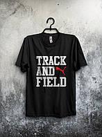 Футболка черная Puma Track And Field Пума (большой принт) (реплика)