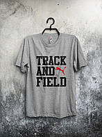 Серая футболка Puma Track And Field Пума (большой принт) (реплика)