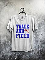 Белая стильная футболка Puma Track And Field Пума (большой принт) (реплика)