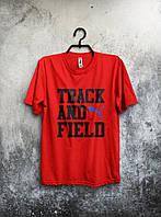 Футболка для парня красная Puma Track And Field Пума (большой принт) (реплика)