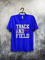 Синяя трикотажная футболка Puma Track And Field Пума (большой принт) (реплика)