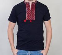 Мужская футболка чёрного цвета с красной вышивкой