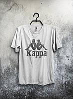 Мужская футболка Kappa Каппа белая (большой принт) (реплика)