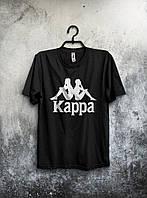 Стильная футболка Kappa Каппа черная (большой принт) (реплика)