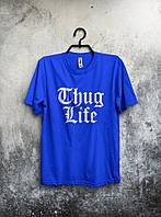 Стильная футболка Thug Life Жизнь Бандита синяя (большой принт) (реплика)
