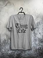 Серая футболка Thug Life Жизнь Бандита (большой принт) (реплика)