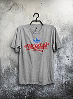 Стильная футболка Adidas Brooklyn Бруклин Адидас серая (большой принт) (реплика)