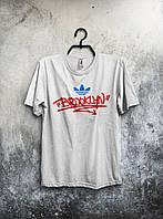 Adidas Brooklyn Бруклин Адидас футболка белая (большой принт) (реплика)