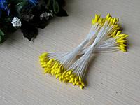 Тычинки Тайские - капельки ручной работы, длинная нитка 8 см. Цвет желтый. 24-25 ниток 48-50 головок