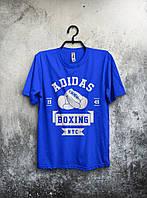 Синяя мужская футболка Adidas Boxing Адидас (большой принт) (реплика)