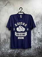 Классная футболка Adidas Boxing Адидас темно синяя (большой принт)