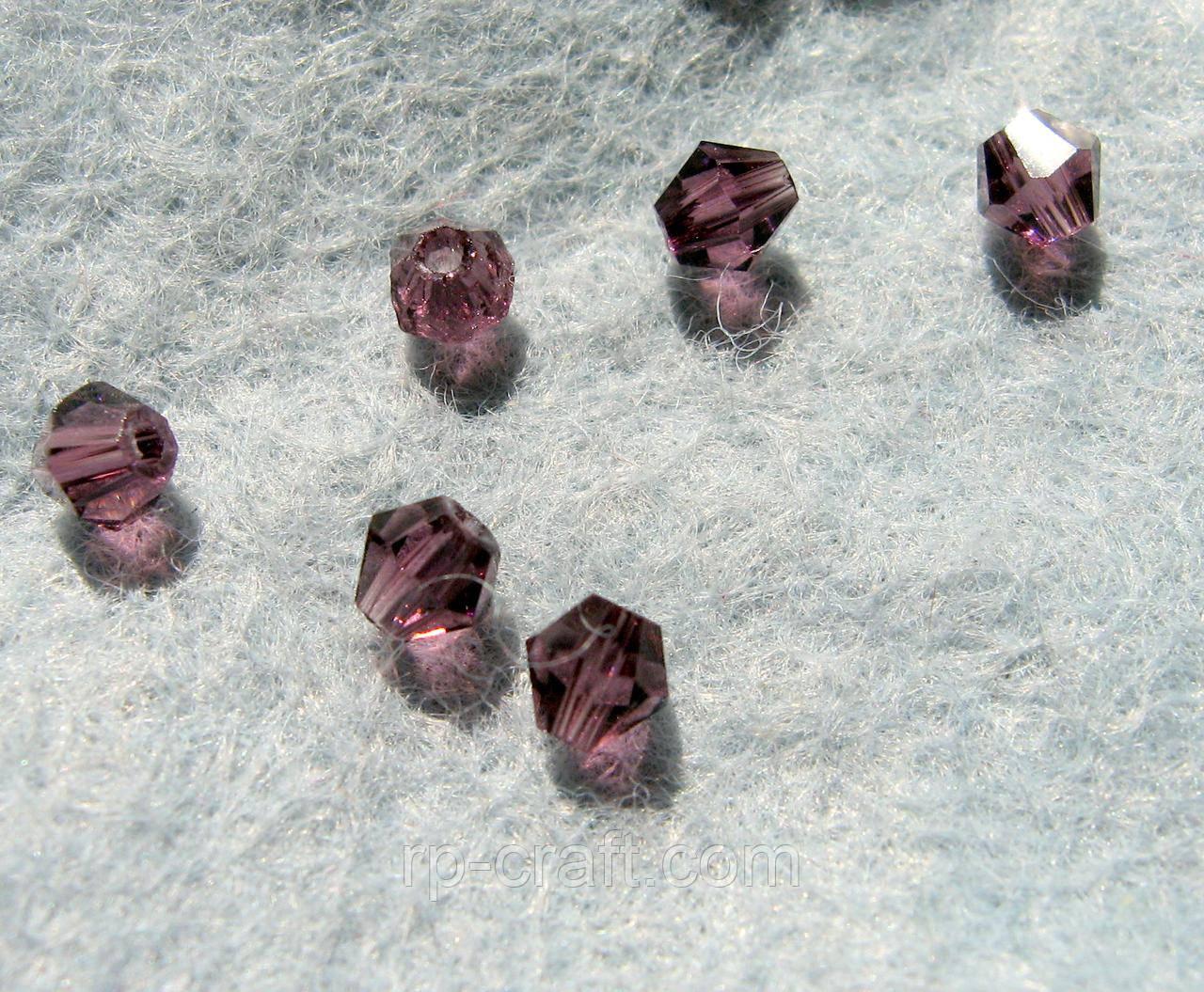 Бусина стеклянная, 4х4 мм, биконус, Сваровски, фиолетовая