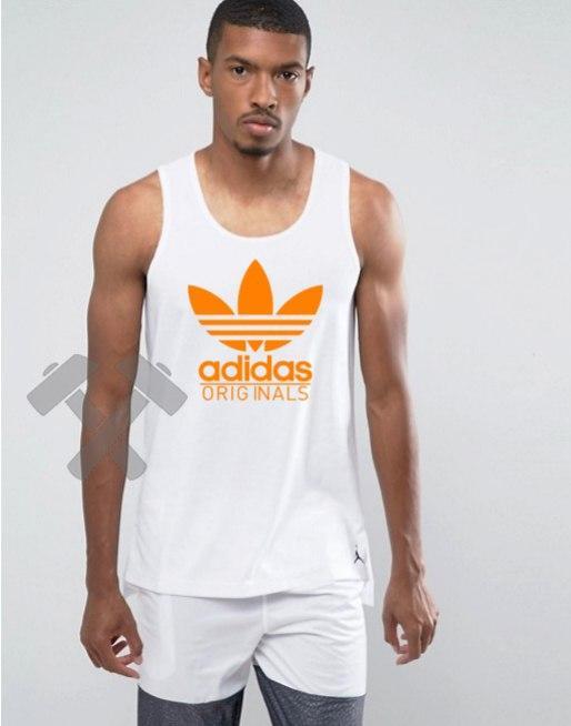 Мужская майка Adidas Original белого цвета с оранжевым логотипом