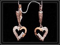 Недорогие серебряные сережки Сердечками модель 036