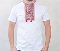 Нарядная футболка с традиционной вышивкой красного цвета