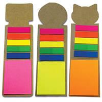 Закладка  со стиками Post-It ярких, неоновых цветов и самоклеящимися PET закладками