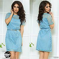 Чудесное нарядное платье в крупную сетку на подкладке с поясом в комплекте