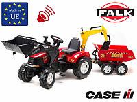 FALK Трактор детский CASE IH PUMA с прицепом и ковшом