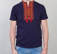 Тёмно-синяя вышитая футболка для мужчин