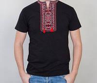 Вышитая мужская чёрная футболка с яркой вышивкой