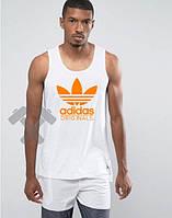 Майка белая Adidas Адидас (большой принт) (реплика)