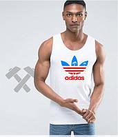 Майка белая мужская Adidas Адидас (большой принт) (реплика)