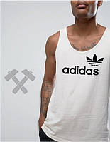 Майка мужская белая Adidas Адидас (большой принт) (реплика)