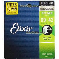 Струны Elixir 19002 Optiweb Nickel Plated Steel Super Light 9-42, фото 1