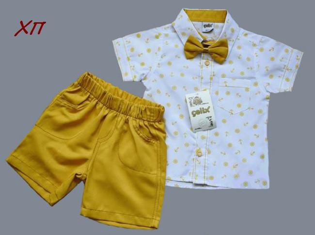 Нарядный летний костюм-двойка для мальчика с бабочкой