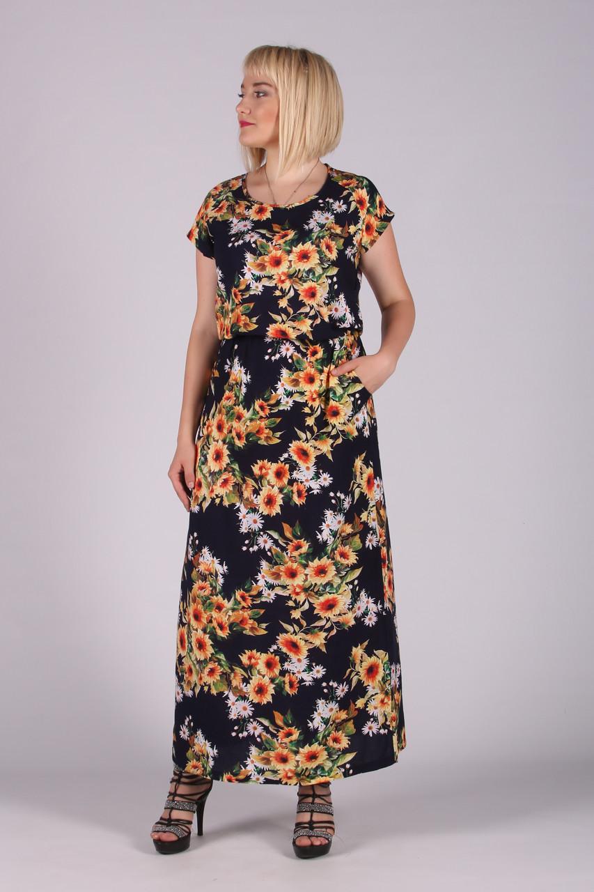Платье Selta модель 473 полубатал 50-56  женское подсолнухи маленькие