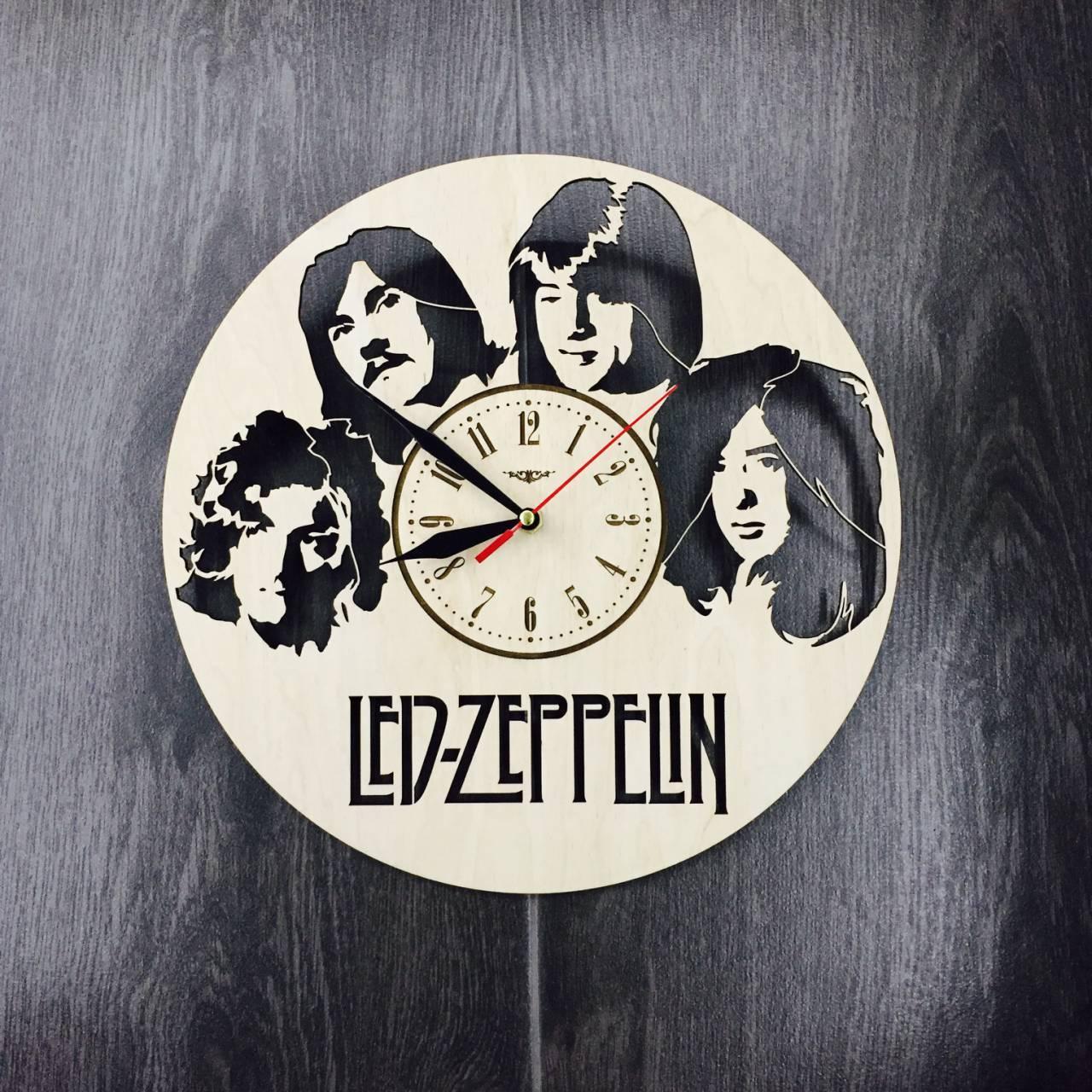 Арт-часы настенные деревянные круглые «Led Zeppelin»