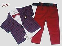 Нарядный летний костюм-тройка для мальчика с бабочкой
