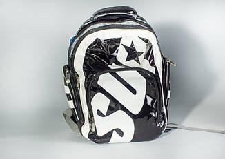 Рюкзак из лакового кожзаменителя черно-белый, фото 2