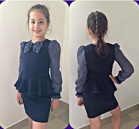 Школьное платье с баской для девочки,7-13 лет(Темно-синий)