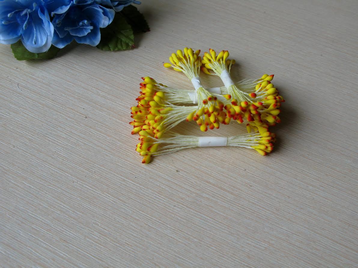 Тычинки Тайские ручной работы.Цвет желто- красные. 24-25 ниток 48-50 головок