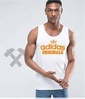 Мужская майка Adidas белого цвета с оранжевым логотипом