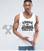 Мужская майка Adidas Originals 1949 белого цвета с черным логотипом