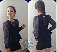 Школьное платье с баской для девочки,7-13 лет(Черный)