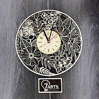 Часы ручной работы настенные деревянные «Летние цветы»