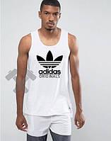 Мужская майка Adidas Originals белого цвета с черным логотипом, фото 1