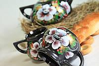 Чайник + 2 чашки черные шиповник рисовка.