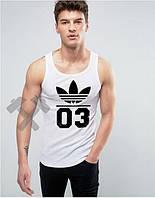 Мужская майка Adidas Originals 03 белого цвета с черным логотипом, фото 1
