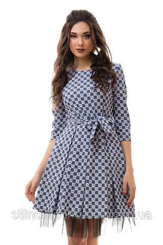 Платье джинс с ватиновым подъюбником+пояс